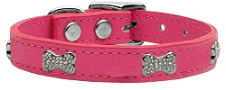 Crystal Bone Genuine Leather Dog Collar Pink 22